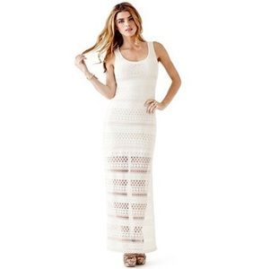 Guess White Crochet Maxi Dress